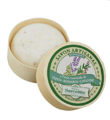 Maitre Savonitto Thyme, Rosemary, Lavender Exfoliating Wooden Box Soap
