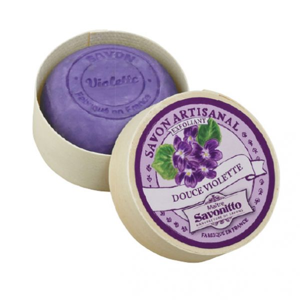 Maitre Savonitto Violette Exfoliating Wooden Box Soap