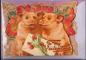 Valentine Greeting Card -3D To My Valentine Piggies