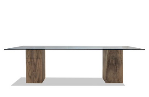 Live Edge Dining Table with Sheet Aluminum Top and Teak Legs
