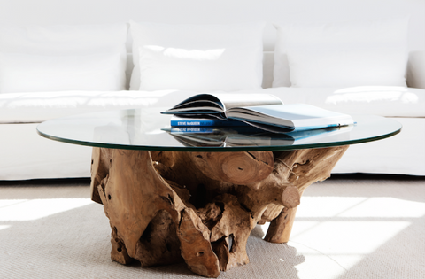 Pure Coffee Table with Glass Top and Teak Base