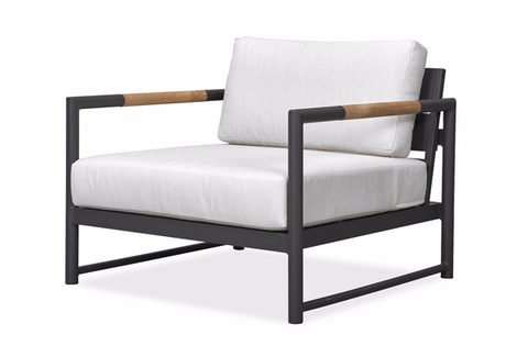 Shown in Asteroid Aluminum frame, Teak accents and Sunbrella Canvas Canvas finish