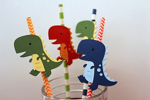 Dinosaur Party straws - set of 10
