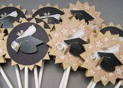 Graduation Cap - cupcake toppers - set of 12