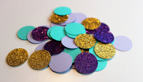 Party Confetti - Mermaid party confetti - Gold, Purple, Teal circle confetti - set of 100 pieces