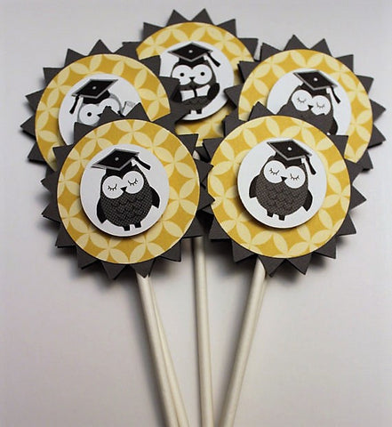 OWL GRADUATION cupcake toppers