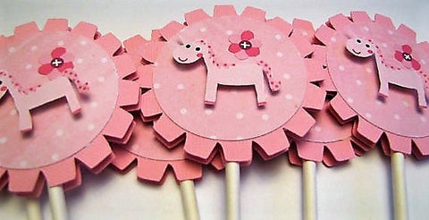 PINK UNICORN Cupcake toppers
