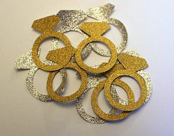 Party Confetti - Diamond Ring Confetti - Gold and Silver glitter