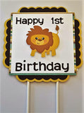 Lion Happy Birthday cake topper - Lion first birthday party - Lion theme birthday - customize any number or color