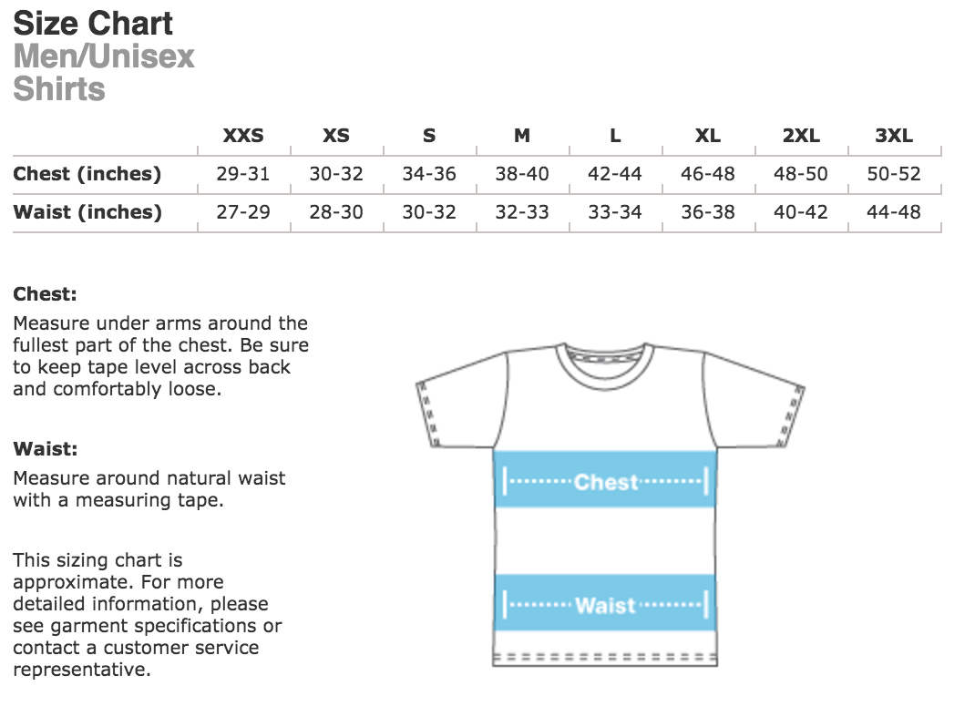 Unisex shirt sizing american apparel merch for the movement