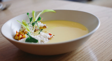 Elote-Inspired Corn Soup at Westwood's Ingredient-Driven Fundamental LA