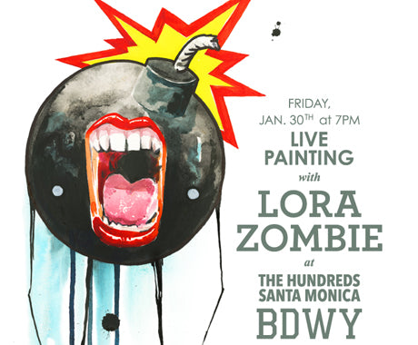 LIVE PAINTING W/ LORA ZOMBIE @ THE HUNDREDS SANTA MONICA