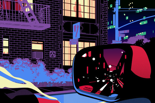 Fluorescent Nightlife :: Vizie's New Prints Explore a Noir City in Full Color