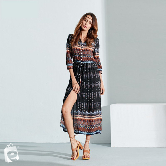 e-millennialstore Bohemian Long Sleeve Dress