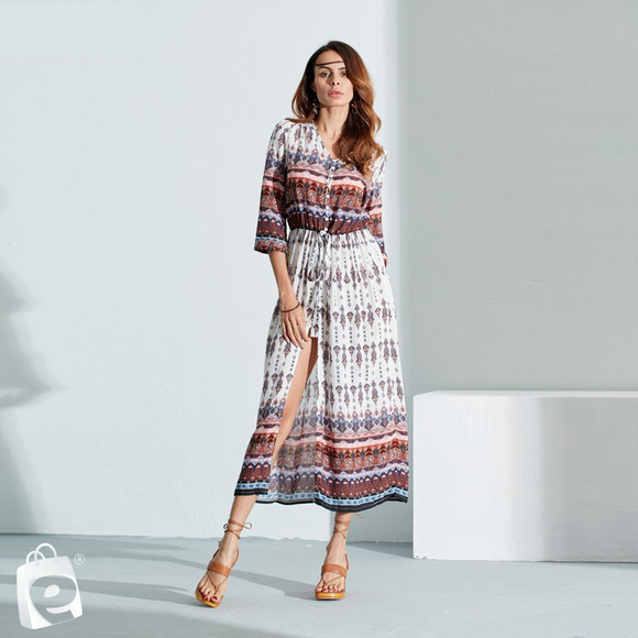 e-millennialstore Boho Long Sleeve Dress