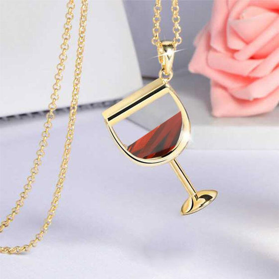 e-millennialstore Gold-color / Red Wine Bottle and Glass Premium Necklace - FREE Shipping