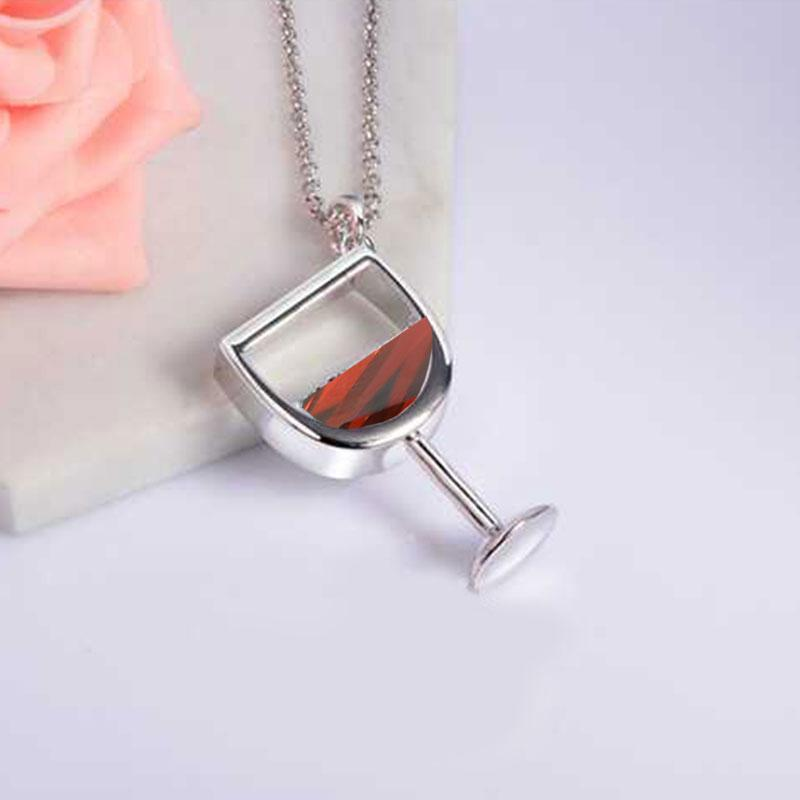 e-millennialstore Imitation Rhodium Plated / Red Wine Bottle and Glass Premium Necklace - FREE Shipping