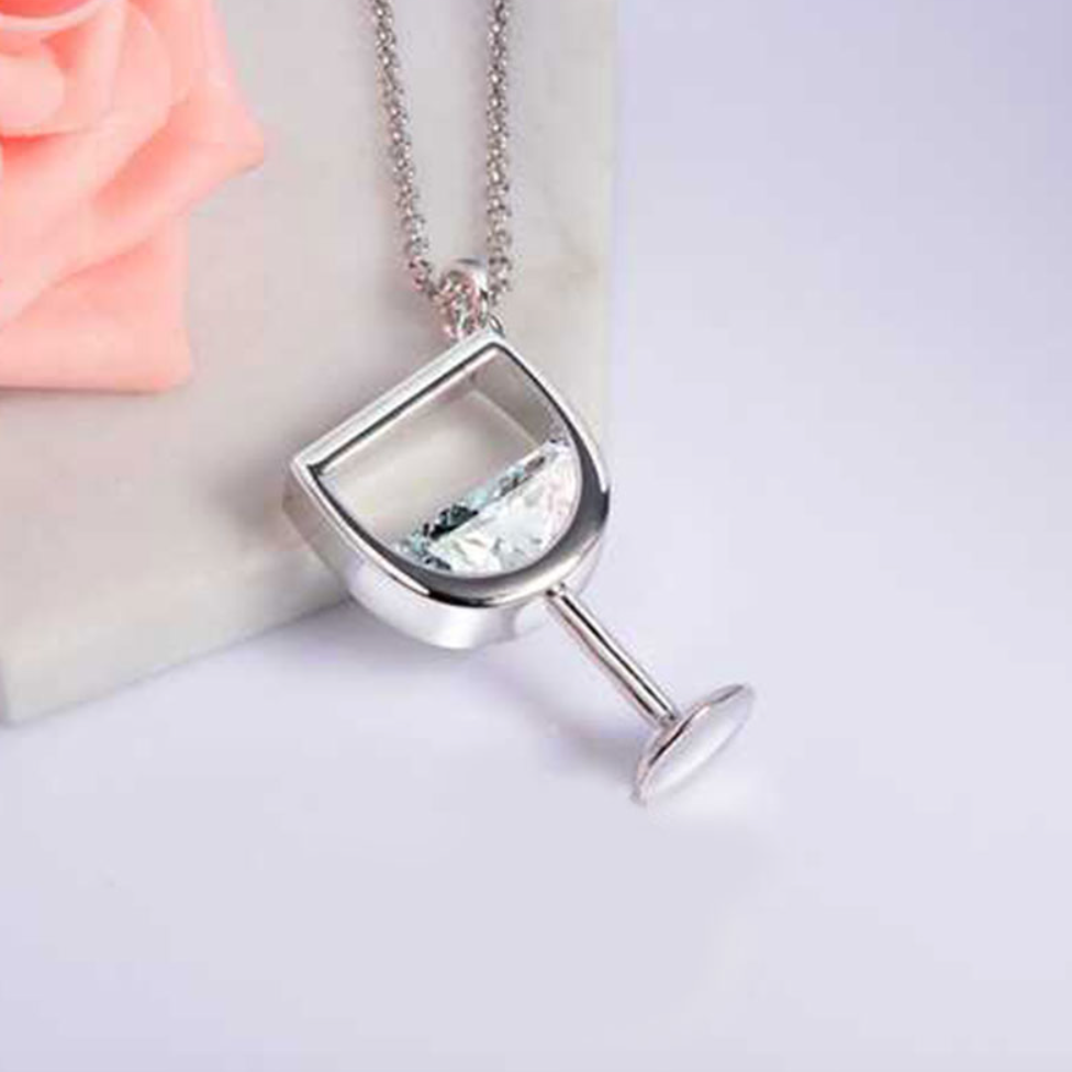 e-millennialstore Imitation Rhodium Plated / White Wine Bottle and Glass Premium Necklace - FREE Shipping