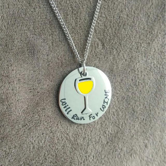 e-millennialstore Necklace silvery WINE BOTTLE AND GLASS NECKLACE - FREE SHIPPING