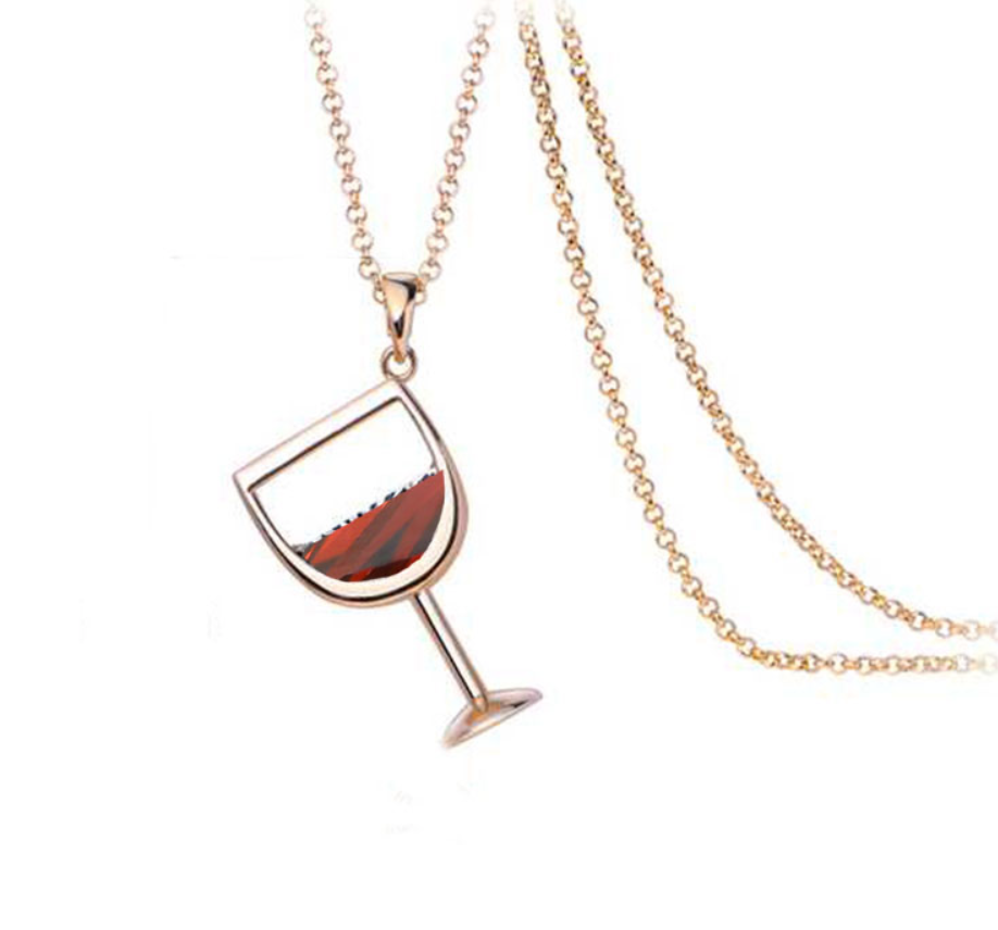 e-millennialstore Rose Gold / Red Wine Bottle and Glass Premium Necklace - FREE Shipping