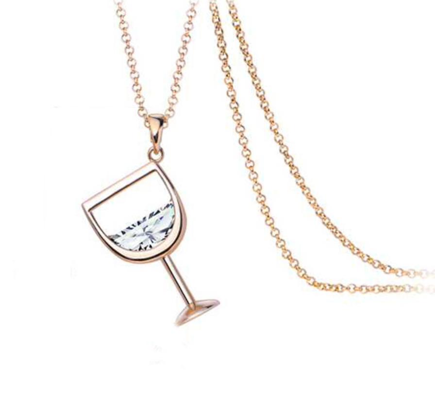 e-millennialstore Rose Gold / White Wine Bottle and Glass Premium Necklace - FREE Shipping