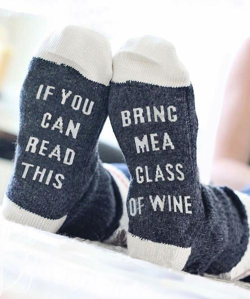 e-millennialstore socks White/Navy / One Size Fits All If You Can Read This, Bring Me a Glass of Wine Socks
