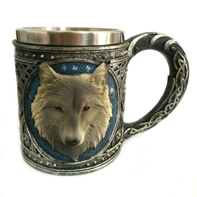 e-millennialstore wine cup Stainless Steel 3D Wolf Vintage Wine Cup Or Mug