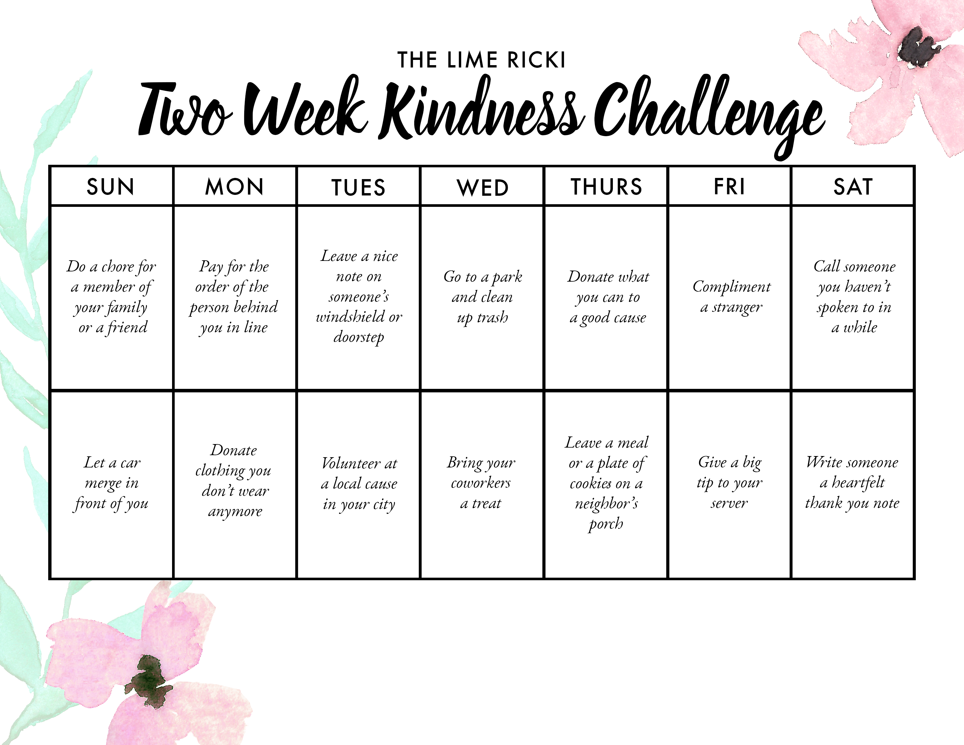Join in on our two week kindness challenge! | Lime Ricki Swimwear | Kindness calendar