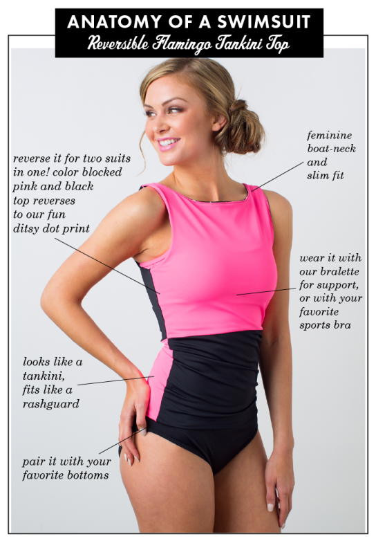 Anatomy of a Swimsuit: Reversible Flamingo Tankini Top