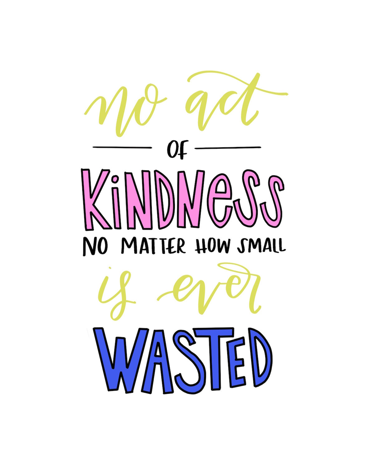 Kindness printables for your home or office | Kindness quotes | Hand lettering + calligraphy | Lime Ricki | Cardall & Co