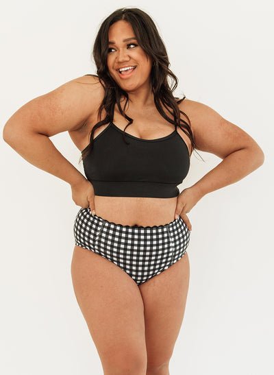 Black Gingham High-Waist Bottom - XXS
