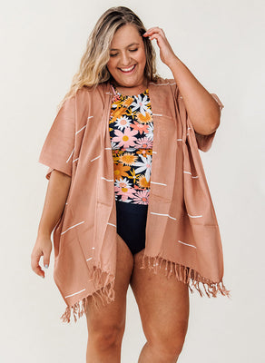 Village Thrive Kimono- Dusty Rose Lines