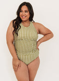 Moss Gingham Racer-Back Tankini Top