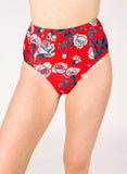 Red Floral High-Waist Bottom