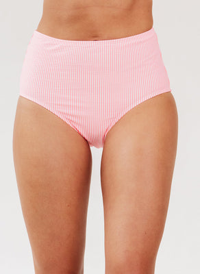 Coral Seersucker High-Waist Bottom