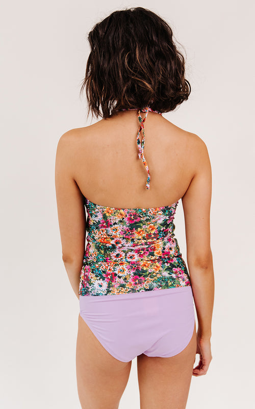 Crayon Floral Cinch-Neck Tankini Top
