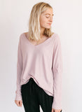 Mauve V-Neck Ribbed Top