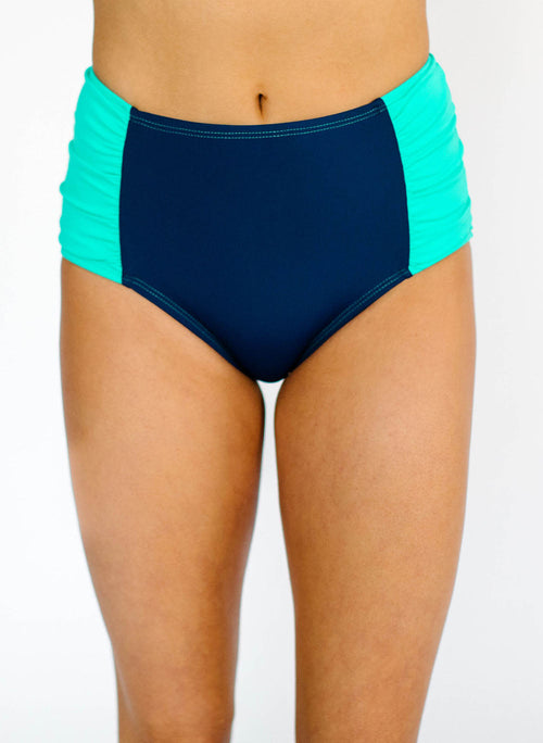 Mint-Navy Ruched Bottom