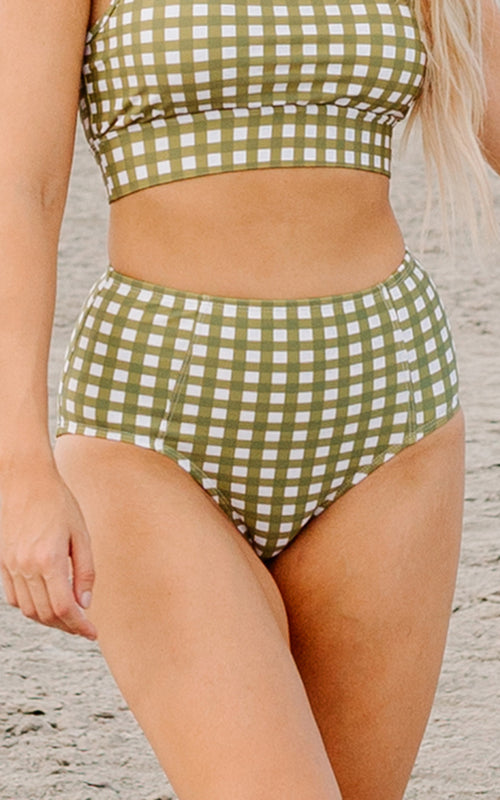 Moss Gingham High-Waist Bottom