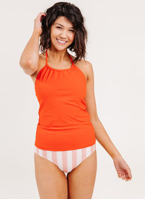 Persimmon Cinch-Neck Tankini Top