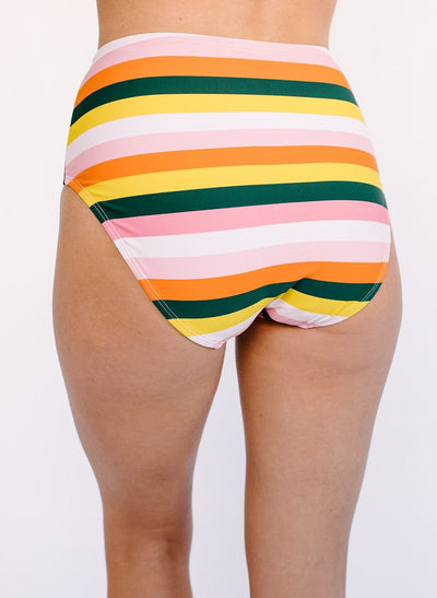 Rainbow Stripe Mid-Waist Bottom - X-SMALL / Rainbow