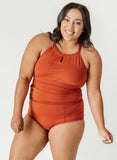 Rust High-Neck Tankini
