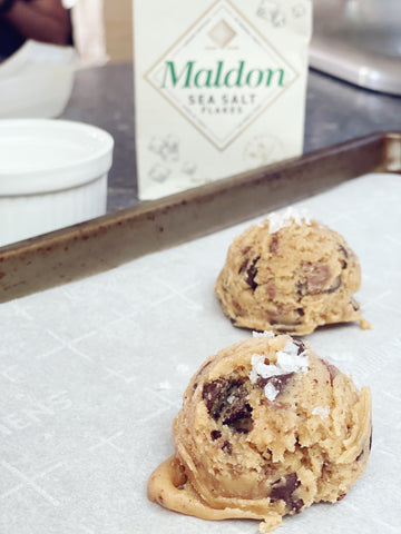 Brown Butter and Toffee Chocolate Chip Cookies with Maldon Salt