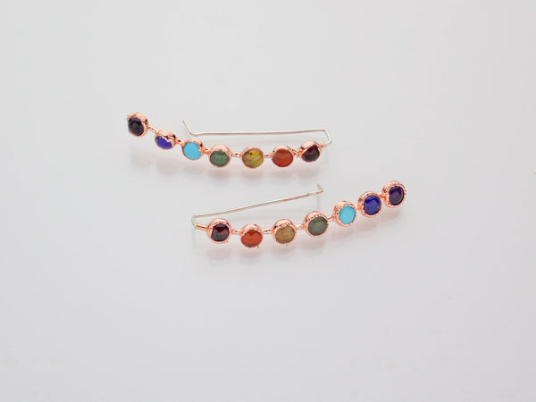 Chakra Ear Climbers Earrings | Chakra Jewelry-Earring-Drishti Handmade