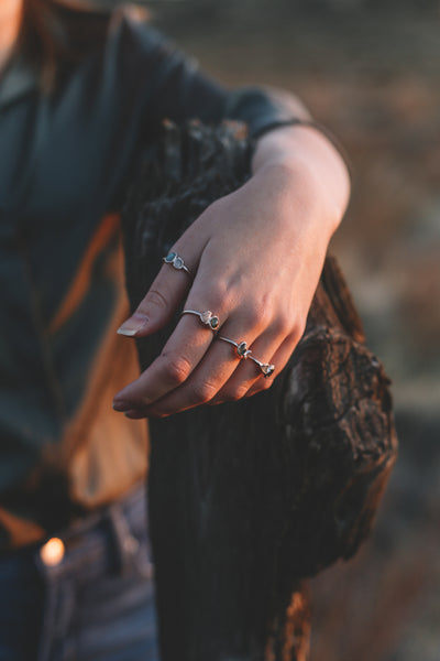 Labradorite and Prehnite Ring | Boho Jewelry | Intuition and Love-Ring-Drishti Handmade