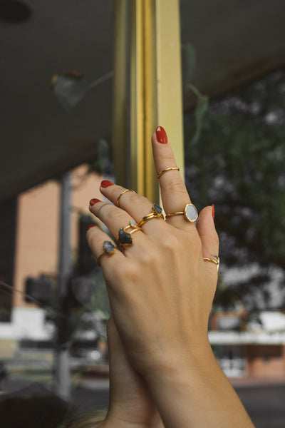 Carnelian Ring | Raw Crystal Stacking Ring-Ring-Drishti Handmade