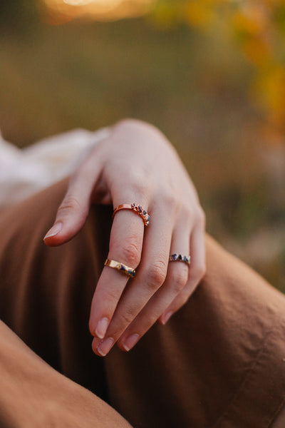 Wide Band Custom Birthstone Ring | Personalized Family Jewelry-Ring-Drishti Handmade