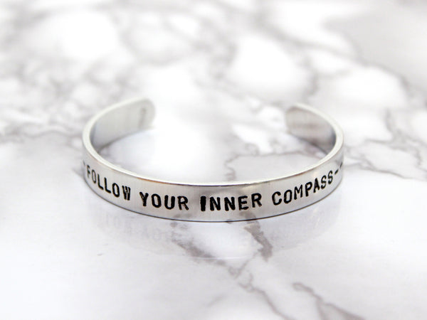 Follow Your Inner Compass | Stamped Cuff-Cuff-Drishti Handmade