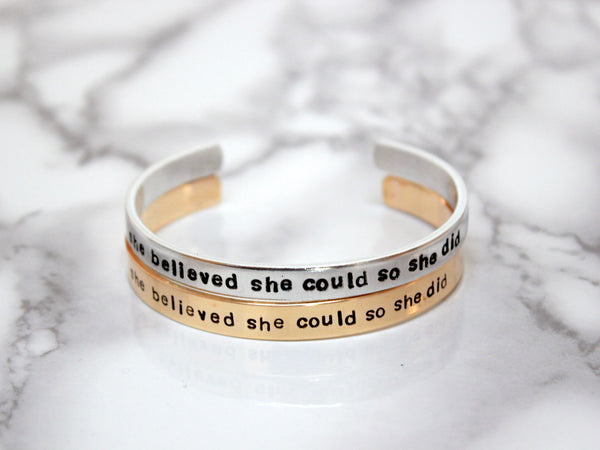 She Believed She Could So She Did | Stamped Cuff-Cuff-Drishti Handmade