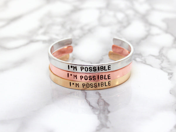 I'm Possible | Stamped Cuff-Cuff-Drishti Handmade